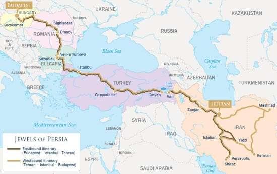 L'itinerario del Golden Eagle-Danube Express