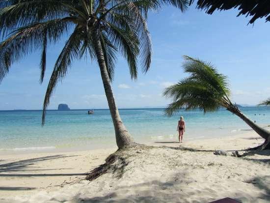 Zilla in un'incantevole spiaggia del Sud-Est asiatico...