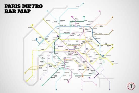Metro Bar Map di Parigi