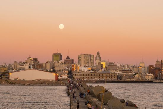 Montevideo skyline during twilight