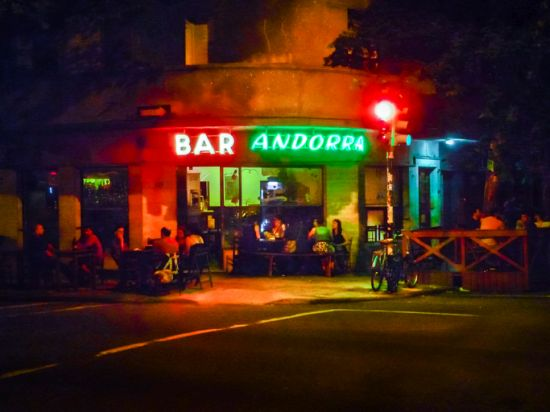 Urban Night Scene at Bar, Montevideo, Uruguay