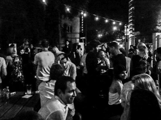 Urban Nigth Scene at Pub, Montevideo, Uruguay