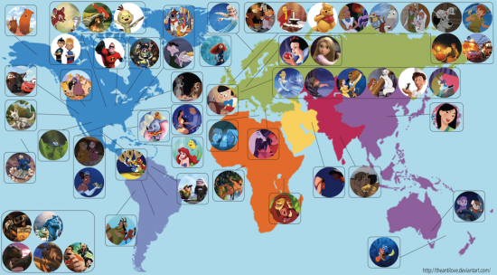 Il planisfero Disney creato da Eowyn Smith