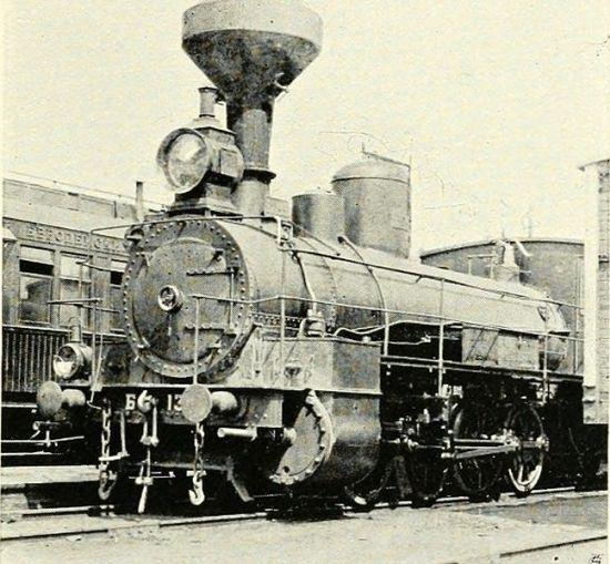 Locomotiva sulla Transiberiana in costruzionenel 1904