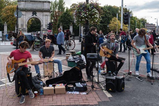 Musicisti di strada a Dublino