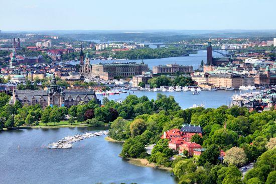 Alcune isole e canali di Stoccolma, visti dall'alto